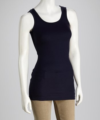 French Navy Ribbed Long Layering Tank