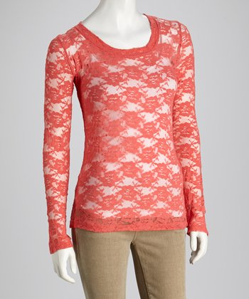 Pink Lemonade Sheer Lace Long-Sleeve Top