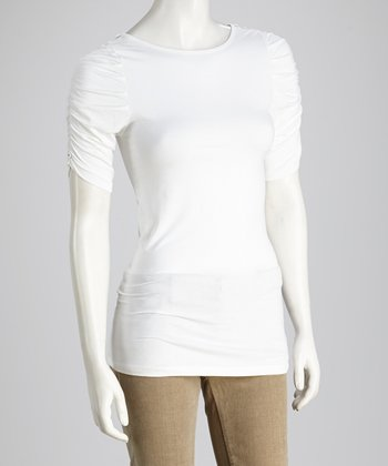 White Ruched Short-Sleeve Top