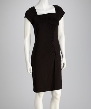 Black Ruched Square Neck Dress
