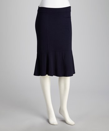 French Navy Flare Pencil Skirt