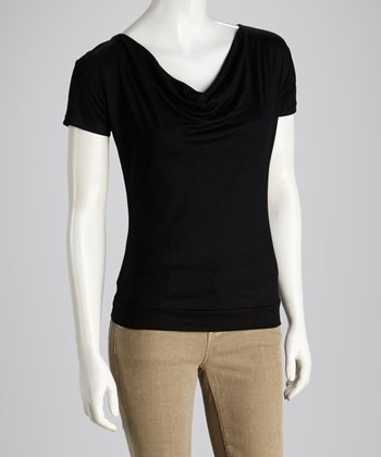 Black Tissue Cowl Neck Top
