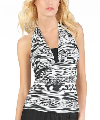 Black Abstract Halter Tankini