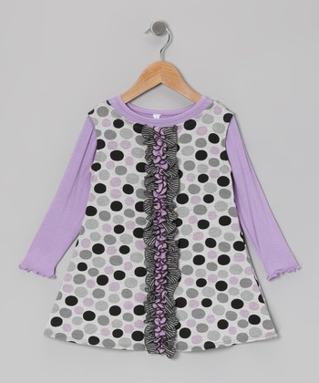 Lavender & Gray Dot Jumper Dress - Toddler & Girls
