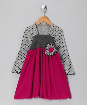 Fuchsia & Gray Sweater Dress - Toddler & Girls