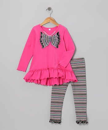 Hot Pink Butterfly Tunic & Leggings - Infant, Toddler & Girls