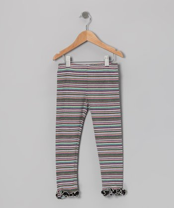 Purple & Green Stripe Leggings - Infant & Toddler