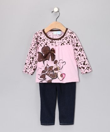 Pink Minnie Babydoll Top & Jeans - Infant