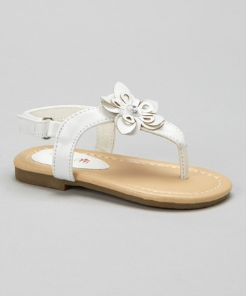 White Cutout Flower Sandal