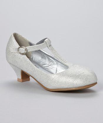 Silver Glitter Party T-Strap Pump