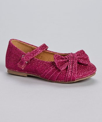 Fuchsia Glitter Bow Mary Jane