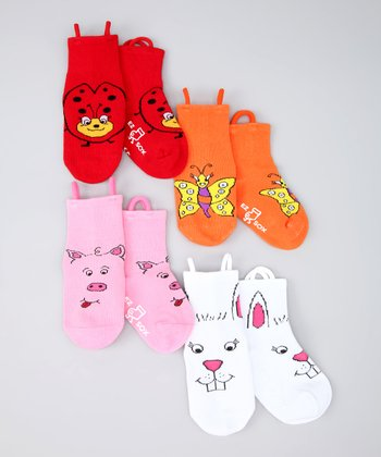 Red & Orange Bug Friends Socks Set