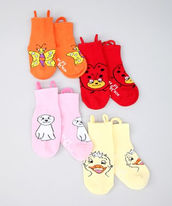 Orange & Pink Bug & Water Friends Socks Set