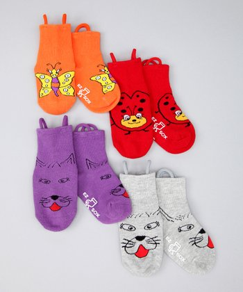 Red & Purple Kitty & Bug Friends Socks Set