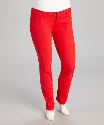 Red Skinny Jeans - Plus
