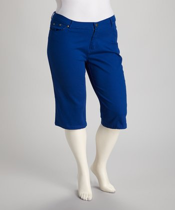 Royal Blue Capri Pants - Plus