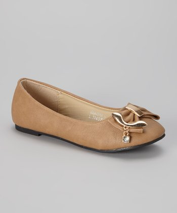 Beige & Gold Bow Flat