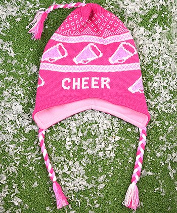 ChalkTalkSPORTS Pink & White 'Cheer' Earflap Beanie