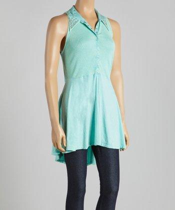 Mint Studded Hi-Low Shirt Dress - Women