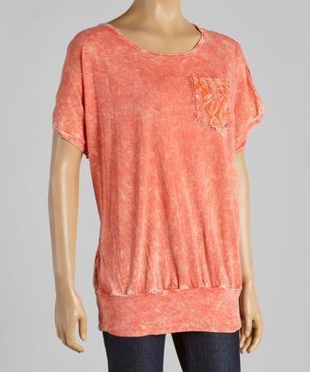 Coral Lace-Back Dolman Tee - Women