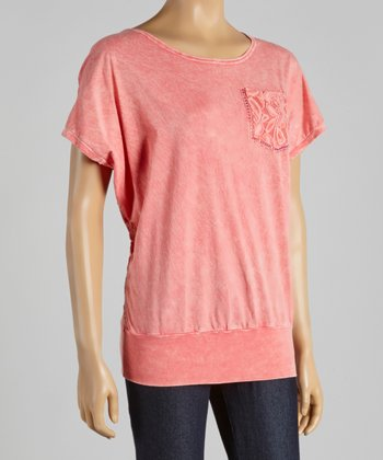 Pink Lace-Back Dolman Tee - Women