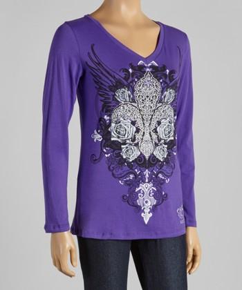Purple Fleur-de-Lis V-Neck Tee - Women