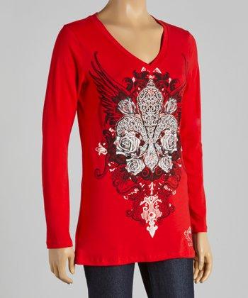 Red Fleur-de-Lis V-Neck Tee - Women
