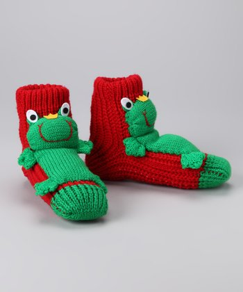 Red Frog Slipper Socks