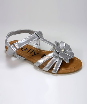 Silver Flower Minnie Sandal
