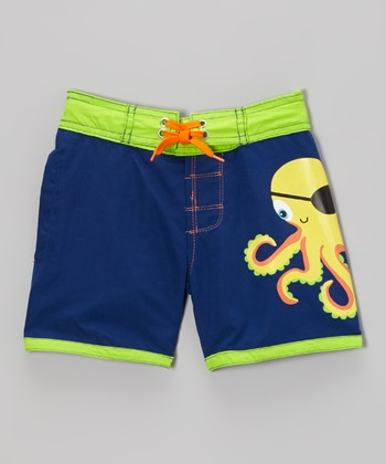 Blue Pirate Octopus Swim Trunks - Infant, Toddler & Boys