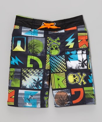 Black & Green Skull Swim Trunks - Toddler & Boys