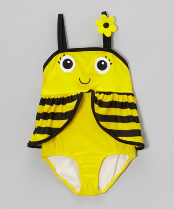 Yellow Bee Skirted One-Piece - Infant & Toddler