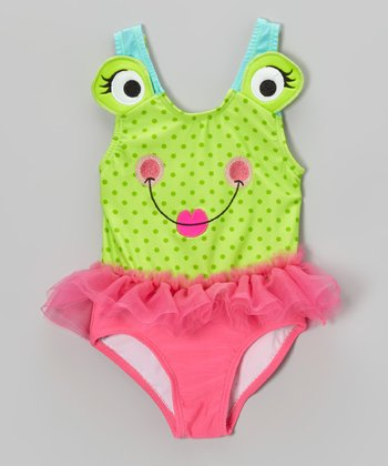 Green & Pink Froggie Skirted One-Piece - Infant, Toddler & Girls