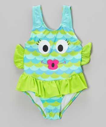 Blue & Green Fishy Skirted One-Piece - Girls