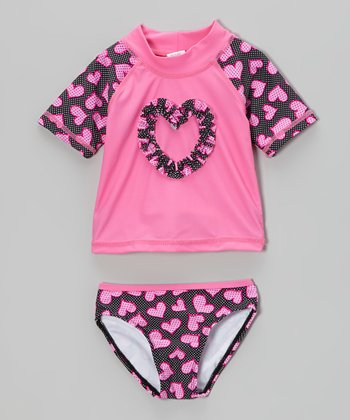 Pink Heart Rashguard Set - Infant