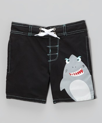 Black Critter Shark Swim Trunks - Infant, Toddler & Boys