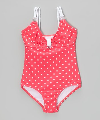 Pink Polka Dot One-Piece - Girls