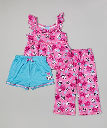 Pink & Blue Kitty Pajama Set - Toddler & Girls