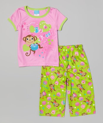 Pink & Green Monkey Pajama Set - Girls