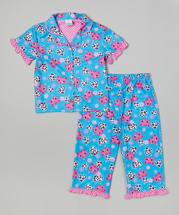 Turquoise Kitty Button-Up Pajama Set - Toddler & Girls