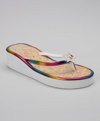 Chatties White Star Embellished Wedge Sandal