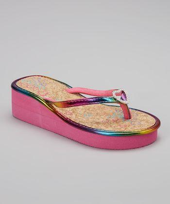 Chatties Fuchsia Heart Embellished Wedge Sandal