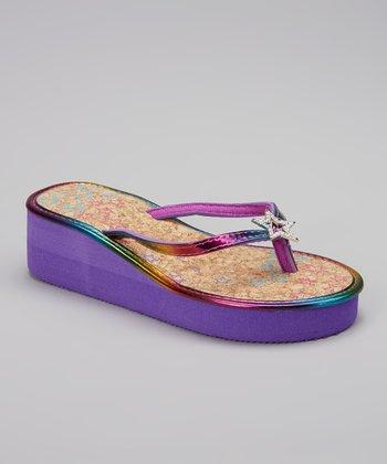Chatties Purple Star Embellished Wedge Sandal