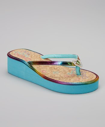 Chatties Turquoise Heart Embellished Wedge Sandal