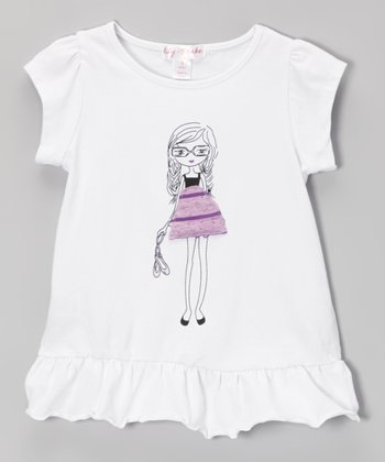 White Ruffle Peplum Tee - Toddler & Girls