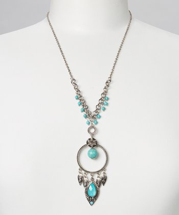 Turquoise & Silver Scroll Leaf Pendant Necklace