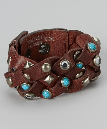 Brown & Turquoise Braided Pyramid Studded Bracelet