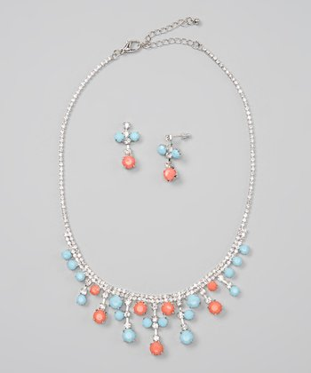 Turquoise & Coral Fringe Bib Necklace & Earrings