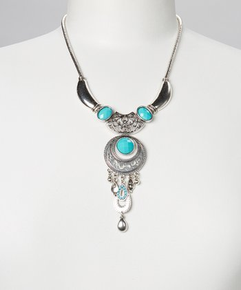 Turquoise & Silver Scroll Bib Necklace