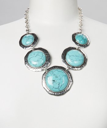 Turquoise & Silver Circle Bib Necklace